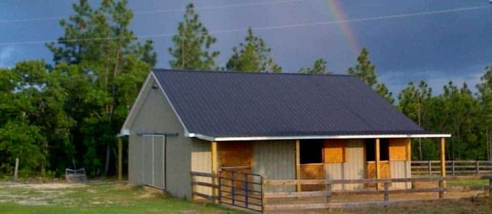 Aiken Horse Farm For Sale - Barn with Rainbow